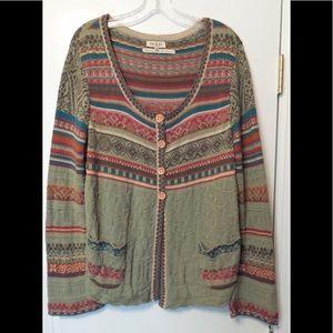 IVKO Jacquard Cotton Cardigan Sweater Jacket Sz L